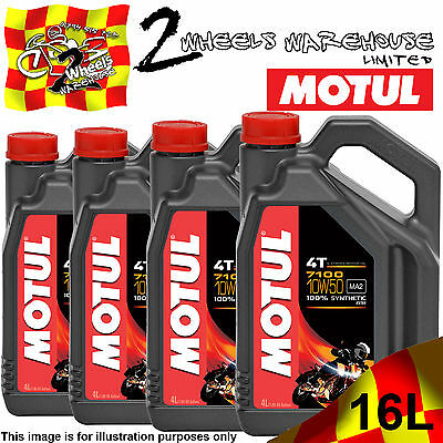 1L 2L 3L 4L 8L 12L 16L Motul 7100 10W50 Fully Synthetic Motor Cycle Bike Oil
