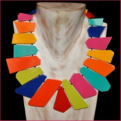 French Designer Gorgeous Spectacular Multi Color Resin Bib Necklace