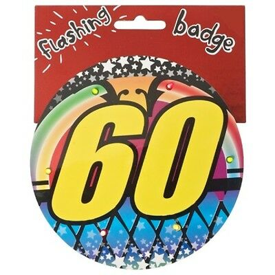 60th Birthday Jumbo Flashing Party Badge Age 60 Big Badges Birthdays