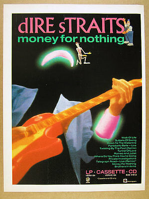 1988 Dire Straits Money for Nothing album promo UK vintage print Ad