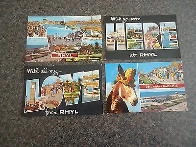 Lot Of 4 Postcards Rhyl Wales 1980 Nice Condition