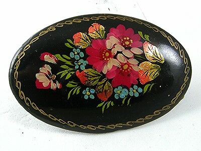 Signed Vintage Russian Group of Flowers Black Lacquered Wood Brooch 6917
