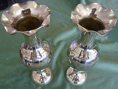 Pair Of Vintage Solid Brass Decorative Vases