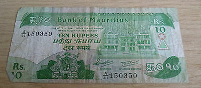 Mauritius Banknote 10 Ten Rupees A/41 150350