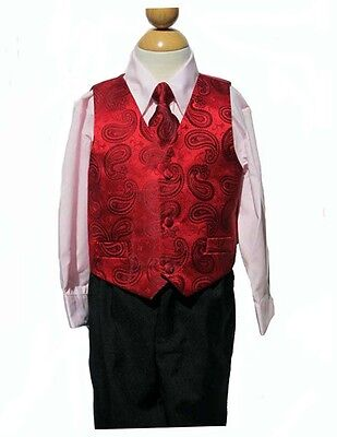 Boys  Christmas, Vest Suit Set, Red/Ivory, Size:  X-Large (18-24 mohth)