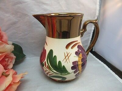 Vtg hand painted luster lustreware pitcher. Copper trim. Wade Harvest Ware