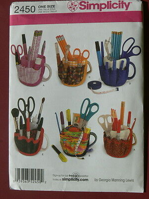 Simplicity Pattern 2450 MUG BUCKETS Desktop Organizers Cup Covers with Pockets