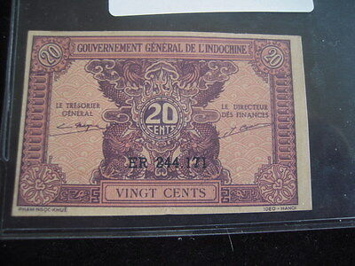1942 Indochina (Vietnam) 20 Cent UNC Paper Currency