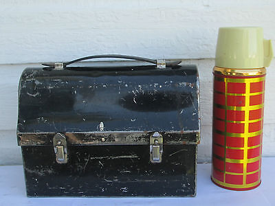 Vintage 1930's Gsw Canada Metal Domed Leather Handle Lunch Box/thermos