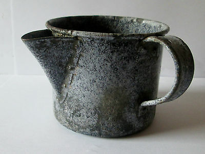 Antique Spouted 2 Cup Grey Enamel Graniteware Tea Pot/cup/mug Enamelware
