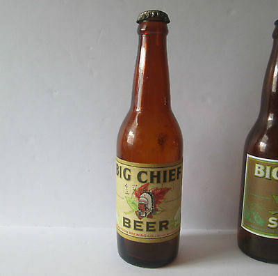 1948 Big Chief Beer With Cap Bottle Paper Label Saskatoon Brewing Saskatchewan