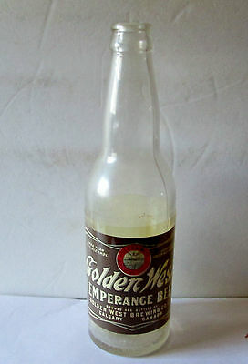 Bottle Label 1910 Golden West Temperance Beer Golden West Brewing Co Calgary