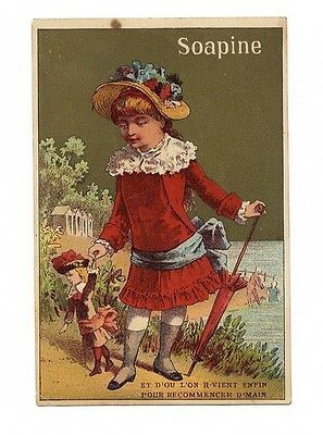 SOAPINE Soap Trade Card 1880's VICTORIAN GIRL in Red Walking Doll French