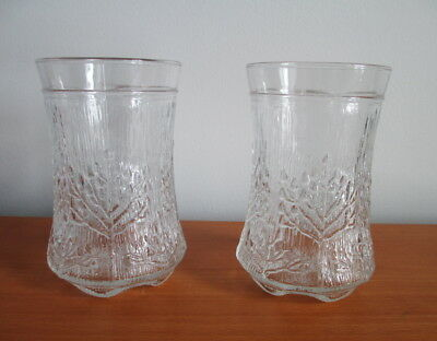 Dansk Floriform Tumblers Pair 10 oz Textured Trees 1970s Italy Glass