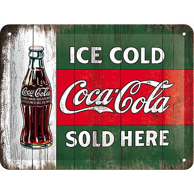 COCA COLA Blechschild - ICE COLD SOLD HERE Logo Softdrink Coke Deko NEU OVP