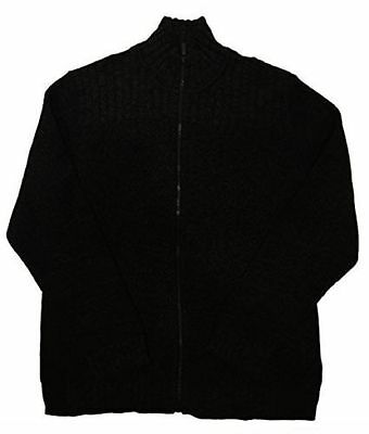 NEW Calvin Klein Cable Knit Ribbed Full Zip Sweater Black Size Large