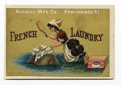 FRENCH LAUNDRY Soap Trade Card 1880's Kendall HOUSEWIFE Beating Clothes on Rock