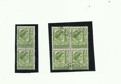 Australia 1952 QEII 2d coil pair and block. SG 237a and 237b used.