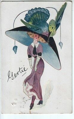 Artist Drawn Young Girl in Outrageous Hat