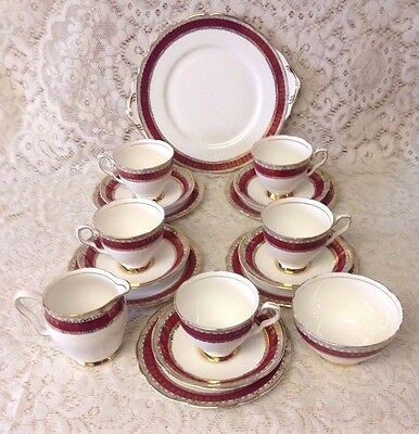 Vintage Royal Stafford Bone China Tea Set~Red/Gold~Cups,Saucers,Plates,Milk,Suga