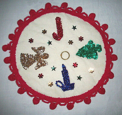 Vintage Christmas felt table decor Beading sequin tree angel candle candy cane