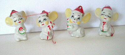 Boxed set of 4 small Christmas Mice mouse ornaments