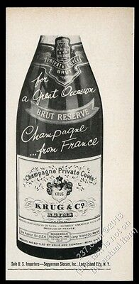 1957 Krug Brut Reserve champagne bottle photo vintage print ad