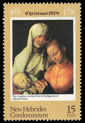 """BRITISH NEW HEBRIDES 260 (SG266) - Christmas """"Virgin and Child with St. Anne"""" (p"""