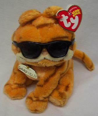 "TY Beanie Babies GARFIELD THE CAT W/ SUNGLASSES 6"" Plush STUFFED ANIMAL Toy NEW"