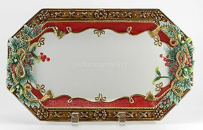 """Fitz and Floyd Serving Tray Platter Yuletide Holiday 8 1/2 x 13 3/4"""" Christmas"""