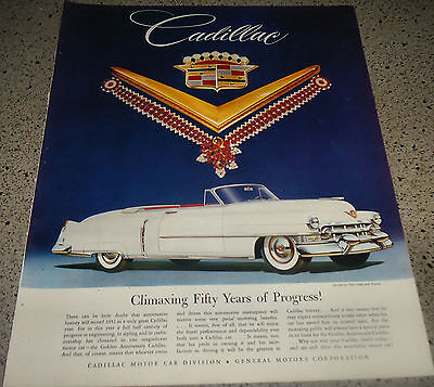 1952 Cadillac White Convertible Antique Car Ad w/ Van Cleef & Arpels Jewelry