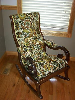 Vintage Rocking Chair Mahogany Goose Neck Floral Tapestry Design