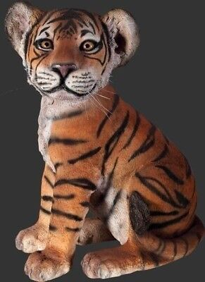 Tiger Statue LIFE SIZE Statue Tiger Cub Sitting Prop Zoo  Display