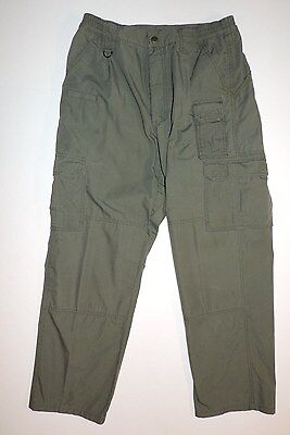 Mens 32W 30L 5.11 Tactical Series Cotton/polyester Cargo Pants Green