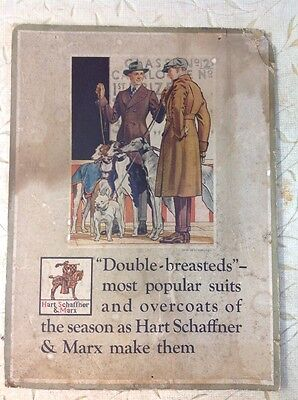 Original 1919 Hart Schaffner Marx Clothing Stand Up Counter Store Display Sign