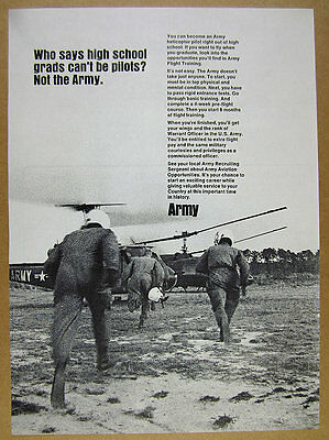 1966 US Army Warrant Officer Helicopter Pilot recruitment vintage print Ad