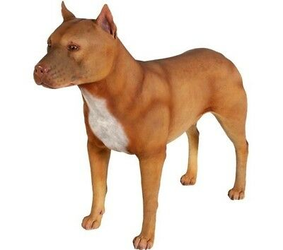 Pitbull Dog Male Statue Life Size Brown Statue Prop Display - Free Ship