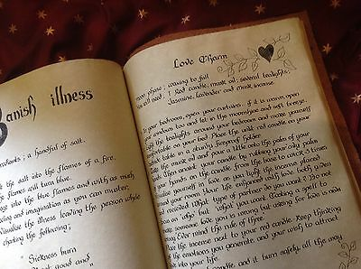 Book Of Shadows Parchment Leather Book 180+ Pages Info Spells Extra Large Wicca