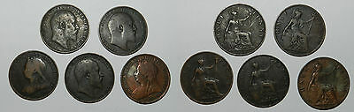 Great Britain : 5 X Half Pennies - Queen Victoria & Edward Vii
