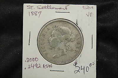 1887 Straits Settlement 50 cents VF Silver Coin - key date