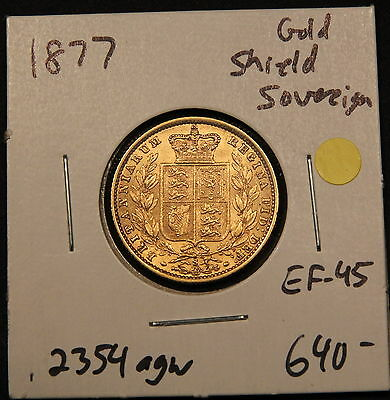 1877-S Australia Gold Shield full Sovereign gEF EF-AU nice grade Sydney Mint