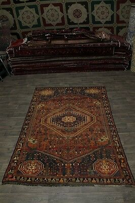 Geometric Semi Antique Tribal Shiraz Persian Wool Area Rug Oriental Carpet 6X10