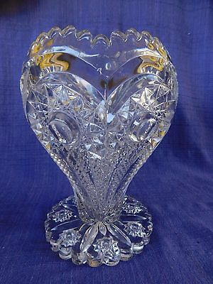 """Large Crystal Imperial Glass ZIPPERED HEART ROSE VASE or BOWL 9"""" tall (c. 1910)"""