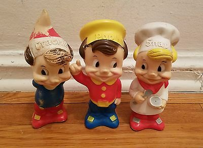 Vintage Kellogg Rice Krispies Snap Crackle Pop Vinyl Rubber Doll Set