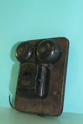 Vintage Black Metal Electric Wired Western Electric Wall Alarm 2 Bell System