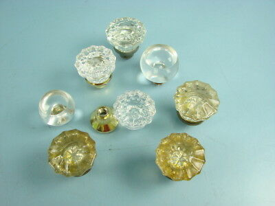 Mixed Lot of 8 Vtg Clear Glass Art Deco Door Knobs DIY Replacement Furniture