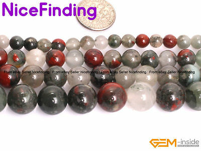 Natural Round Africa BloodStone Mix Color Gemstone Beads For Jewelry Making 15""