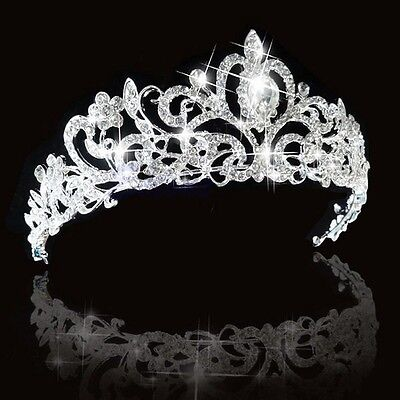 Elegant Bridal Princess Austrian Crystal Tiara Wedding Crown Veil Hair Accessory