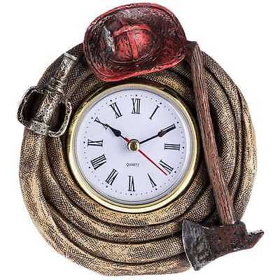 FIRE FIGHTER CLOCK with Fire Helment Hose and Axe Fireman Hydrant . Great Gift