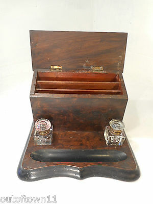 Antique Desktop Writing Tidy , Inkwell , Stationery Stand   ref2587